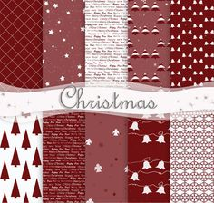 Christmas Digital Paper Set Of 10 Red,White Christmas Printable Paper Christmas Background Holiday Paper Red Christmas Scrapbooking Papers Create Christmas Cards, Christmas Paper, White Christmas, Christmas Background, Paper Background, Yellow Daisies, Love To Shop, Printable Paper, Christmas Printables