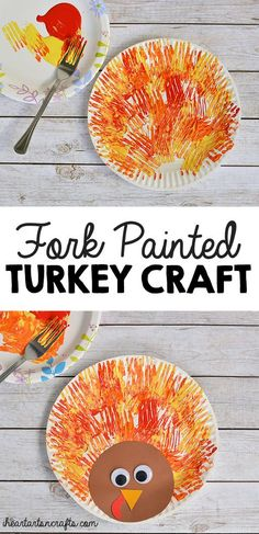 Fork painted turkey craft for kids - Crafts for Kids Daycare Crafts, Classroom Crafts, Kid Crafts, Cork Crafts, Baby Crafts, Creative Crafts, Thanksgiving Crafts For Kids, Holiday Crafts, Thanksgiving Turkey