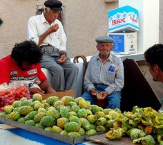 Greece, Santorini. Market stand selling prickly pears