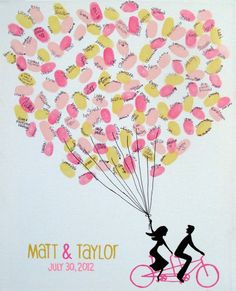 """Copious: Tandem Bike With Thumbprint Balloons on Canvas Wedding Guest Sign In 12""""x16"""""""
