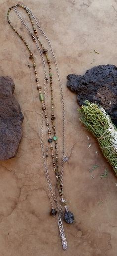 Taos Rustic Layering Necklace Trio + New Mexico + Staurolite Cross + Taos Mesa Basalt Silver Pendant + Southwestern Rustic by DesertTalismans on Etsy