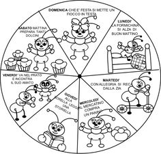 Coloring pages on the days of the week- Disegni da colorare sui giorni della settimana Coloring pages on the days of the w… Applique Templates, Online Coloring, E 10, Teaching Kids, Coloring Pages, Crafts For Kids, Mandala, Playing Cards, Classroom