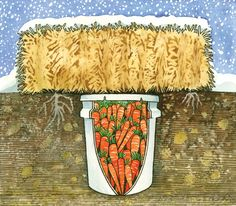 To make a nifty, mini root cellar right in the garden, simply bury a bucket and cover it with a straw bale.