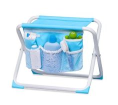 Summer Infant makes a foldable tubside seat that is about tub-height and can give your knees a break from kneeling. One side has a fabric storage panel that has room to slip in bath care products.