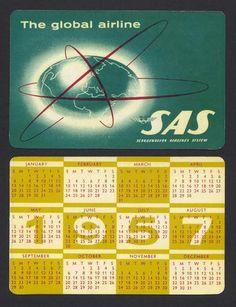 SAS Scandinavian Airlines System Pocket Calendar 1957