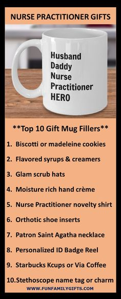 The best gift ideas for a male or female nurse practitioner, registered nurse, nursing school student, or graduating RN; coffee mugs are always a top gift idea.  11 ounces; made from the highest quality ceramic; microwave and dishwasher safe. Printed on both sides for left- or right-handed users; the print will never fade no matter how many times it's washed!  Custom printed, packaged, and shipped in the USA! #NP #nursepractitioner  #nurse #nurselife #nursegift #rn #nursingschool… Top Gifts, Gifts In A Mug, Best Gifts, Nurse Practitioner Gifts, Novelty Shirts, Patron Saints, Nurse Life, Gifts For Husband, Office Gifts