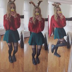 christmas eve outfit!!! hahahaha i look like an elf but aa skirt, polo pullover, urban outfitters tights and oxfords :-) i hope you all have a great, great holiday