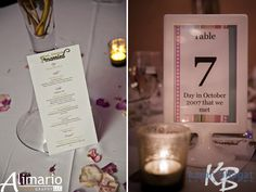 New Jersey Indian Wedding Reception Table Numbers and Menu on IndianWeddingSite.com