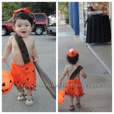 easy and cheap diy bamm bamm costume for toddlers