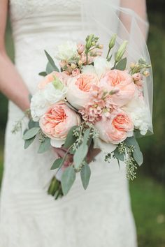 Brides Bouquet Idea- This one took my breath away. But more peachy, and just a smidge less hanging :-) Such a lovely bouquet of david austin roses, stock, lisianthus and seeded euc. Bouquet Bride, Flower Bouquet Wedding, Floral Wedding, Trendy Wedding, Rose Wedding, Simple Wedding Bouquets, Garden Rose Bouquet, Spring Wedding, Blush Wedding Flowers