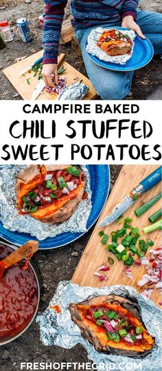 A hearty meal perfect for fall camping trips, this chili stuffed baked sweet potato recipe is easy to make around the campfire.