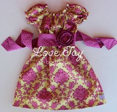 """Girls Easter/Spring Peasant style dress """"Raspberry Sorbet"""" boutique hand made 6-9 month to 5T...Love Tay Boutique. $45.00, via Etsy."""
