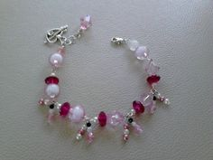 Pretty PINK Love Bracelet, Pink & Rose  Swarovski  Crystal Beads by GorgeousBracelets on Etsy