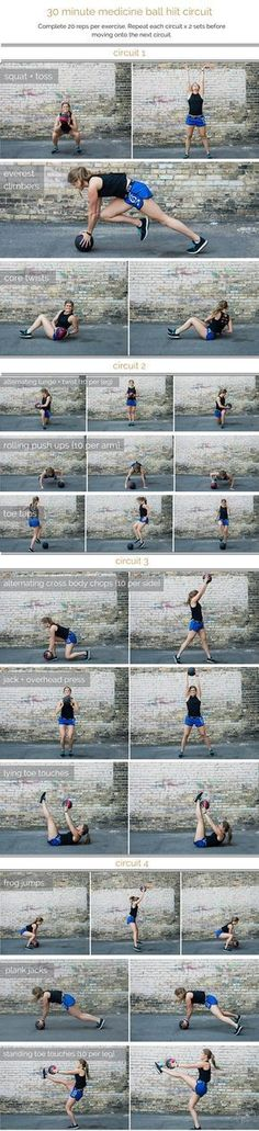 medicine ball hiit circuit workout | combine cardio, strength and stability in this medicine ball hiit circuit; a total body workout that you can do in 30 minutes or less. | www.nourishmovelove.com #cardiochallenge #Circuitworkouts