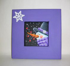 Snowman with Hearts Tole Painted on Black by barbsheartstrokes, $20.00