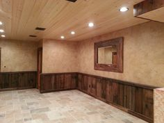 Crackled Finish Above Barn Wood Wainscoting