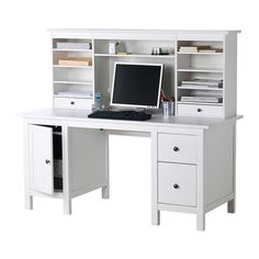 $459 (299+160 Desk/hutch add on) HEMNES Desk with add-on unit IKEA Adjustable middle shelf is easy to adjust to make room for a computer monitor or to create extra storage.
