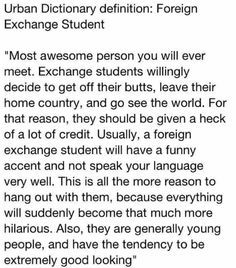 Urban Dictonary Definition: Foreign Exchange Student