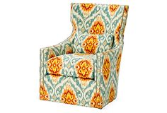 ikat upholstered chair