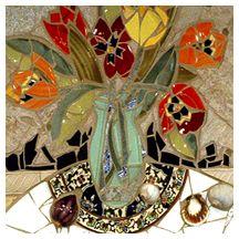 Three Moonies, Mosaic Mural, Therese Desjardin Studios, Santa Fe, New Mexico.