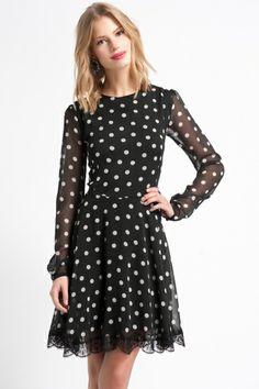 Phemie Puantiye Elbise Siyah