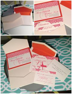Custom pink and orange wedding invitation suite - contact me at www.enicholsdesign.com for more details!