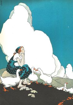 Girl with Geese - Vintage Print - Wall Art - Vintage Children's Book Illustration - Clouds - Art Nouveau - Wall Art by SunshineBooks on Etsy