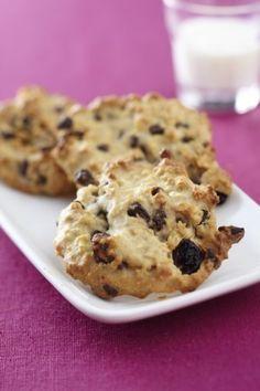 """Recette - Palets aux flocons d""""'avoine, raisins secs et pépites de chocolat   Notée 4.5/5"""