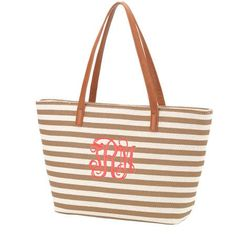 0cdc157ae760 Monogrammed Khaki Stripe Charlotte Purse   Personalized Handbag by  HersandHim on Etsy