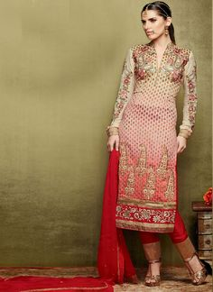 Baronial Cream And Red Embroidery Work Churidar Salwar Suit, Product Code :6308, shop now http://www.sareesaga.com/baronial-cream-and-red-embroidery-work-churidar-salwar-suit-6308  Email :support@sareesaga.com What's App or Call : +91-9825192886