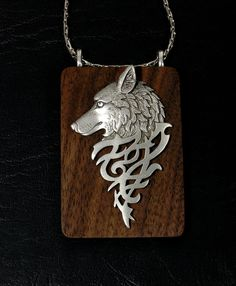 JJ Jonette Tribal Wolf On Walnut Pendant with by GoodSpiritWolf