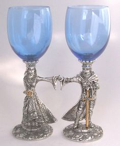 King Arthur and Guinevere Goblets - Rennaisance Pewter Wedding Collections and Limited Edition Sculptures