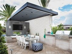 Contemporary Patio with Black Pergola and Dinning