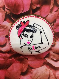 Breast Cancer Awareness Believe tattoo hand painted rock sealed in resin unique gift idea Rock Painting Ideas Easy, Rock Painting Designs, Stone Crafts, Rock Crafts, Breast Cancer Crafts, Believe Tattoos, Cancer Tattoos, Hand Tattoos For Women, Rock Design