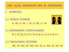 HOE  ALLES  INMEKAAR  PAS  IN  AFRIKAANS.  KLANKLEER:  1.1  VOKALE / KLINKERS  a,  aa,  e,  ee,  i,  ie,  o,  oo,  u,  uu  1.2  KONSONANTE / MEDE-KLINKERS  b, c, d, f, g, h, j, k, l, m, n, p, q, r, s, t, v, w, x, z  1.3  TWEEKLANKE / DIFTONGE