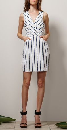 f42a74a7e2b Woven Striped Sleeveless Sheath Dress w  Pockets White Sheath Dress
