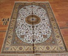 4'x6' Handmade Hand-knotted 200 kpsi Silk Oriental Persian Tabriz Rug 285
