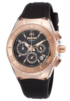 Technomarine Women's Cruise Star Chrono Black Silicone and Dial Rose-Tone Case - Luxury Watch TM-115033,    #Technomarine,    #TM115033,    #Casual