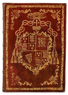 A fine armorial binding, showing the coat of arms in gilt of Henry Stuart, Cardinal Duke of York and Bonnie Prince Charlie's younger brother.