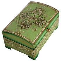 Green Jewelry Box in Wood Hand-Painted in a Vintage Antiqued Distressed Finish