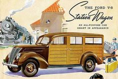 1937 Ford V-8 Woody Station Wagon - Promotional Advertising Poster