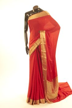 Mysore Crepe- crepe blood red saree with blouse