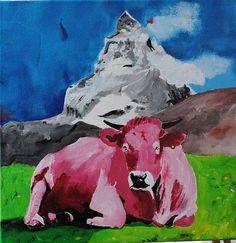 Walter Lehmann, Kuh 52 mit Matterhorn, Tiere: Land, Expressionismus, Moderne