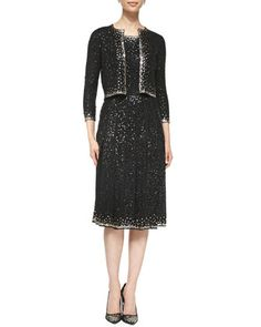 Beaded Cropped Knit Cardigan and Sleeveless Beaded Silk Dress by Oscar de la Renta at Neiman Marcus.
