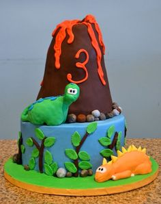 Kids Dinosaur Volcano Birthday Cake Sugarland Raleigh Chapel Hill