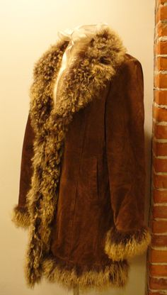 Vintage Penny Lane Suede Coat with Mongolian Lamb Fur Trim by TheOldBagOnline on Etsy