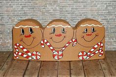 cement half moon pavers painted to look like gingerbread men, love it Painted Bricks Crafts, Brick Crafts, Man Crafts, Stone Crafts, Cement Crafts, Cement Pavers, Painted Pavers, Painted Rocks, Brick Pavers