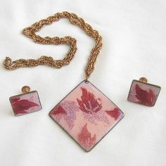 Vintage 1970s Red and Pink Copper Enameled Leaf by MyVintageJewels, $12.00