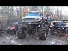 A lot of the trucks at the River Rats ride congregated at a slough crossing over into the rear part of the property. Jacked Up Trucks, Big Trucks, Mudding Trucks, Rats, Tractors, Chevy, 4x4, Jeep, Monster Trucks