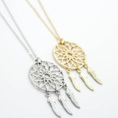 Dreamcatcher gold / silver plated necklace